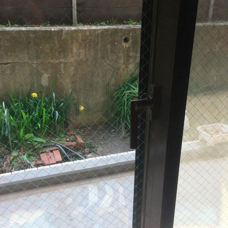 清川村エリア、マンション、ベランダ透明ワイヤーガラス、レスキュー隊によるガラス割れ交換修理アフタ画像